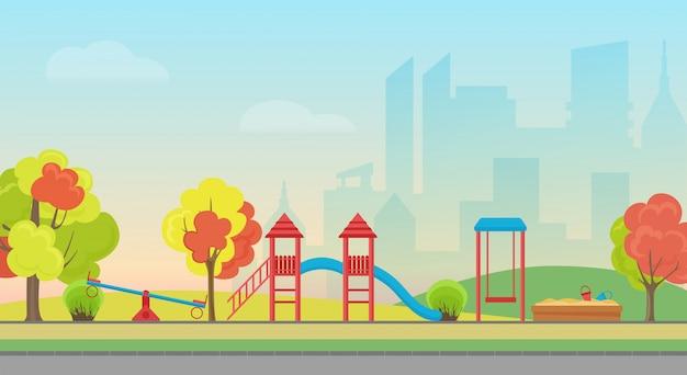 Wektor miejski park publiczny z rozrywką na placu zabaw dla dzieci na tle nowoczesnych drapaczy chmur miasta. jesienny publiczny park miejski z kolorowymi drzewami sezonowymi.