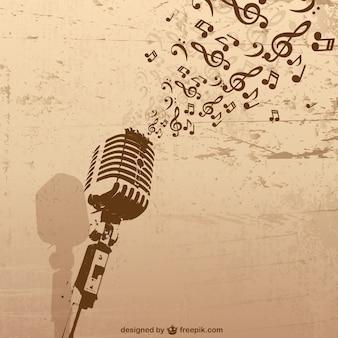 Wektor mikrofon muzyka retro