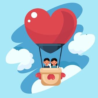 Wektor miłość i walentynki, młoda para kochanek w balon. wycieczka dla nowożeńców