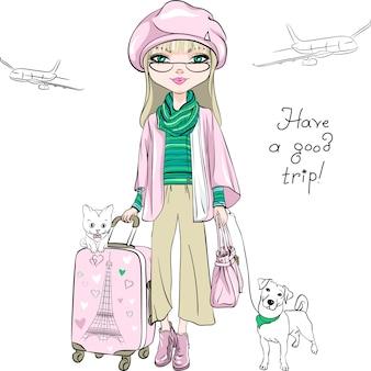 Wektor moda piękna dziewczyna podróżuje po świecie