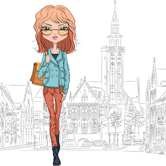Wektor moda piękna dziewczyna w brugii