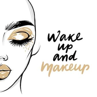 Wektor moda plakat z cytatem - obudź się i makijaż. portret kobiety z złoty cień do powiek i szminka.