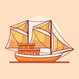 Wektor modelu łodzi w płaskiej konstrukcji ilustracji