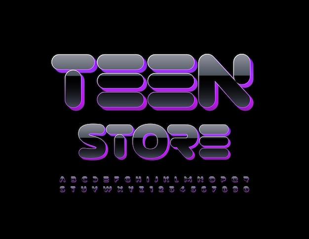 Wektor modne logo teen store czarny i fioletowy alfabet litery i cyfry jasne streszczenie czcionki