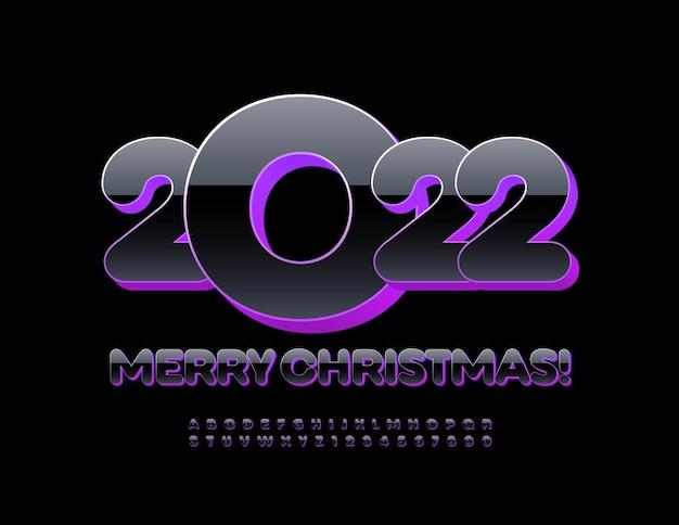 Wektor modny kartkę z życzeniami wesołych świąt 2022 3d czarny i fioletowy alfabet litery i cyfry