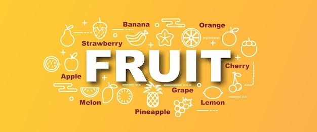 Wektor modny sztandar owoców