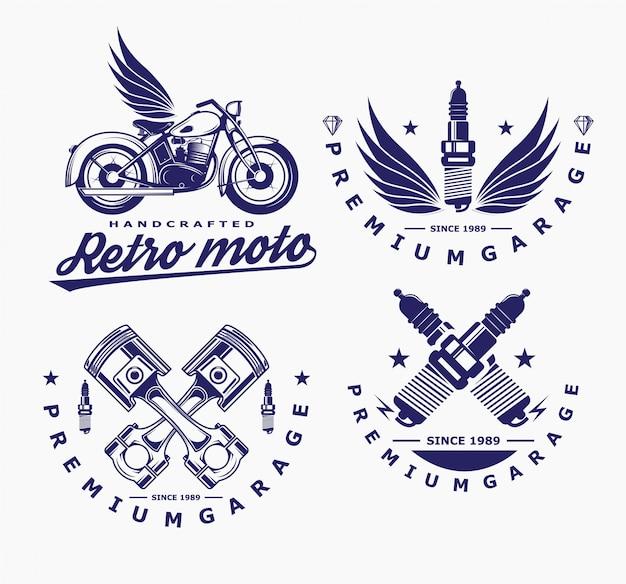 Wektor motocykla, ikona świecy żarowej, logo transportu.
