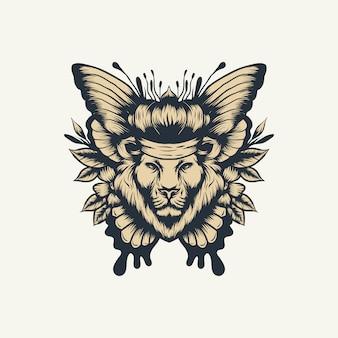 Wektor motyl lew