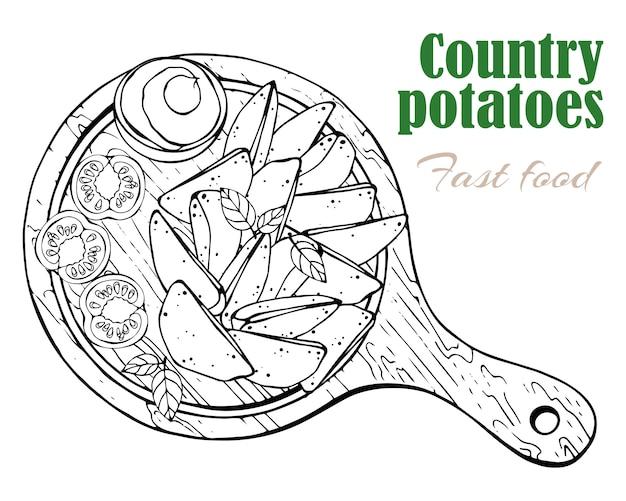 Wektor. motyw fast food: wiejskie ziemniaki na desce.
