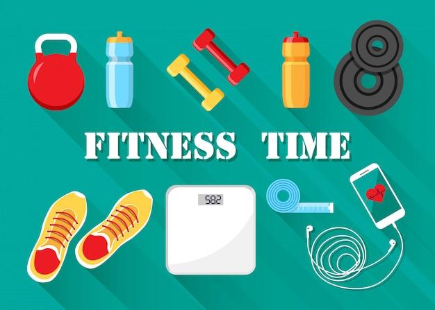 Wektor motywowany do fitnessu i sportu. sprzęt treningowy na białym tle. pojęcie diety i zdrowego stylu życia.
