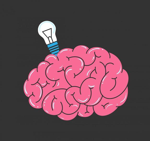 Wektor mózg i żarówka