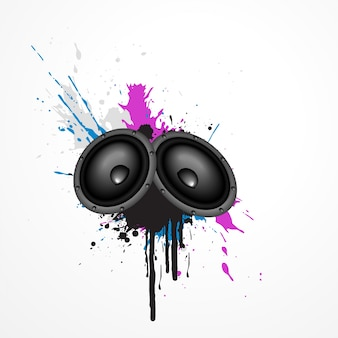 Wektor muzyki głośnik na grungy sztuki