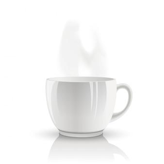 Wektor na białym tle filiżankę herbaty.