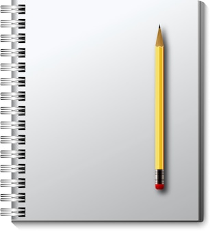 Wektor na białym tle notatnik z ołówkiem.