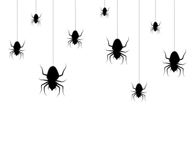 Wektor na białym tle rysunek z wiszącymi pająkami do dekoracji i pokrycia. przerażające tło halloween. czarny.
