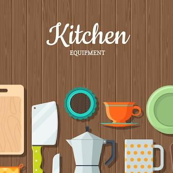 Wektor naczynia kuchenne na drewniane tekstury