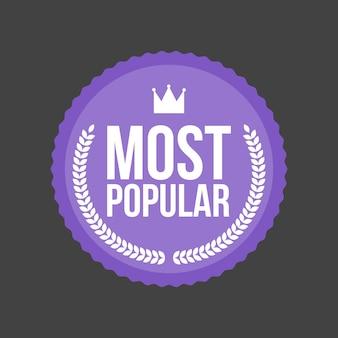 Wektor najbardziej popularne płaskie odznaka, okrągła etykieta.