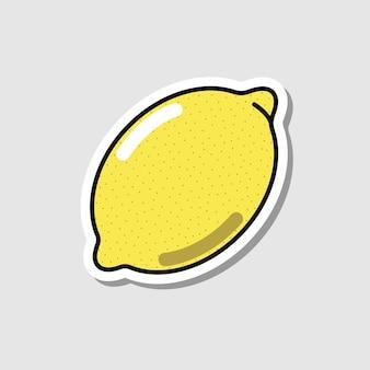 Wektor naklejki cytryny w stylu cartoon pojedyncze owoce z cieniem
