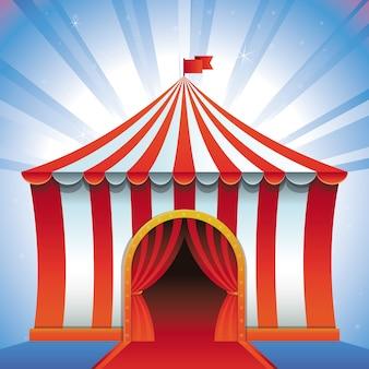 Wektor namiot cyrkowy - koncepcja rozrywki