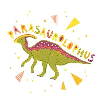 Wektor napis parasaurolophus i kolorowe elementy geometryczne