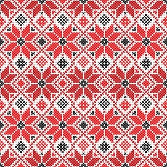 Wektor narodowy biało-czerwony ornament białoruski. słowiański wzór etniczny. haft, haft krzyżykowy
