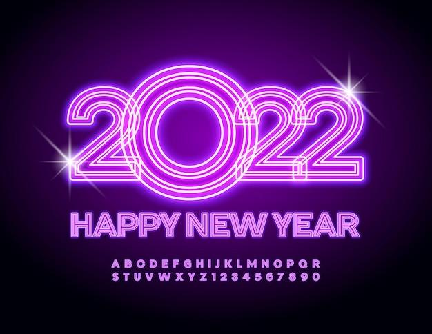 Wektor neon kartkę z życzeniami szczęśliwego nowego roku 2022 fioletowe świecące zestaw liter alfabetu i cyfr