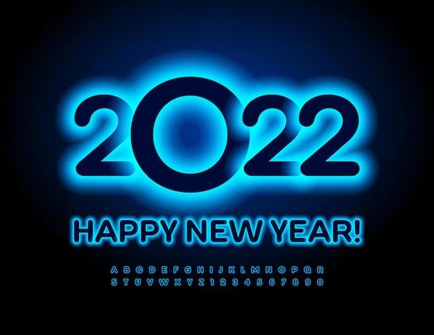 Wektor neonowa kartka z życzeniami szczęśliwego nowego roku 2022 blask niebieski czcionki elektryczne litery i cyfry alfabetu