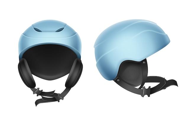 Wektor niebieski kask ochronny do jazdy na nartach, snowboardzie i innych sportów zimowych z przodu, widok z boku na białym tle