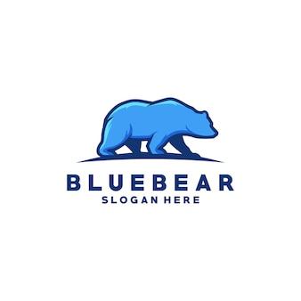 Wektor niebieski niedźwiedź logo premium