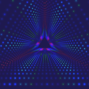 Wektor nieskończony trójkątny tunel świecących flar