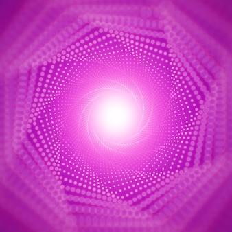 Wektor nieskończony tunel świecących flar na fioletowym tle z płytkiej głębi ostrości. świecące punkty tworzą sektory tunelowe. streszczenie cyber kolorowe tło. elegancka nowoczesna tapeta geometryczna.