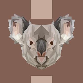 Wektor niskiej wielokąta koala głowy