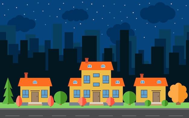 Wektor noc miasto z kreskówek domów i budynków. przestrzeń miasta z drogi na koncepcja tło płaski. letni krajobraz miejski. widok ulicy z pejzażem miejskim na tle