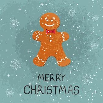 Wektor nowoczesne kartkę z życzeniami kolorowe ręcznie rysować ilustrację christmas cookie człowieka. wesołych świąt. do projektowania plakatów, kart, banerów, nadruków na t-shirt, zaproszenia, kartki z życzeniami, innych projektów graficznych