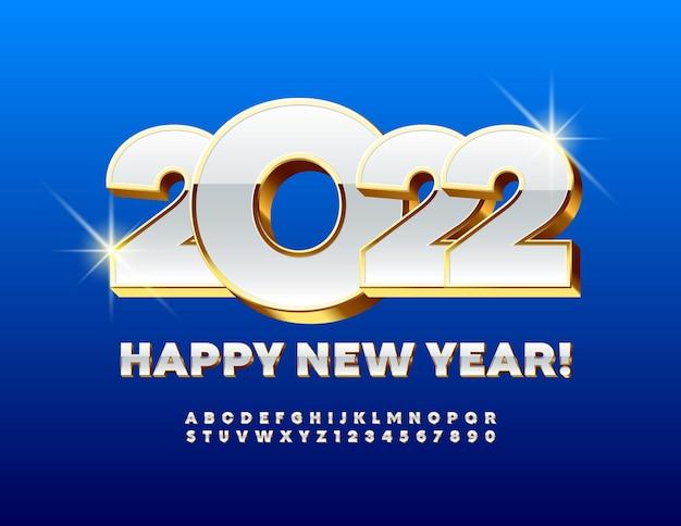 Wektor nowoczesne kartkę z życzeniami szczęśliwego nowego roku 2022 3d złoty i biały zestaw liter alfabetu i cyfr