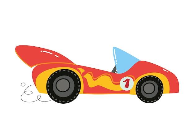 Wektor nowoczesne kreskówki wyścigi czerwony samochód. auto dzieci śmieszne i słodkie logo. nadruk chłopięcy - na ubrania, karty, baner. komiks clipart
