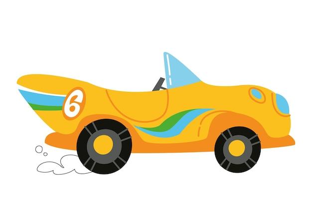 Wektor nowoczesne kreskówki wyścigi żółty samochód. auto dzieci śmieszne i słodkie logo. nadruk chłopięcy - na ubrania, karty, baner. trendy clipart dla dziecka