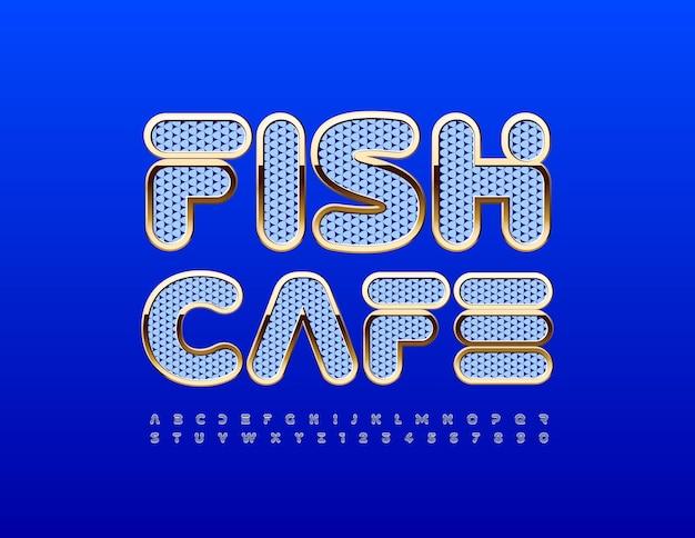 Wektor nowoczesne logo fish cafe gold i blue teksturowanej czcionki creative alfabet litery i cyfry zestaw