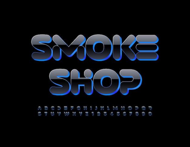 Wektor nowoczesne logo smoke shop creative błyszczące czcionki niebieski i czarny zestaw liter alfabetu i cyfr