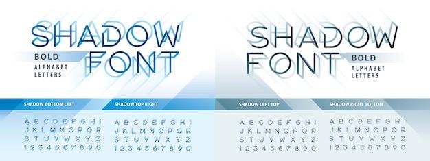 Wektor nowoczesny cień alfabetu litery i cyfry, nowoczesny styl czcionki z cienia.