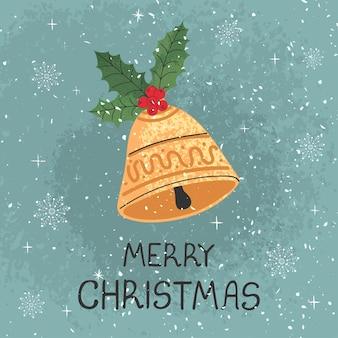 Wektor nowoczesny kartkę z życzeniami z kolorowych ręcznie rysować ilustracja dzwonek bożonarodzeniowy. wesołych świąt. do projektowania plakatów, kart, banerów, nadruków na t-shirt, zaproszenia, kartki z życzeniami, innych projektów graficznych