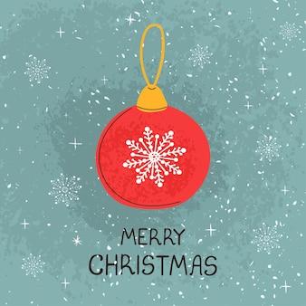 Wektor nowoczesny kartkę z życzeniami z kolorowych ręcznie rysować ilustrację christmas ball. wesołych świąt. do projektowania plakatów, kart, banerów, nadruków na t-shirt, zaproszenia, kartki z życzeniami, innych projektów graficznych
