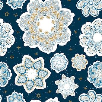 Wektor nowoczesny wzór z kolorowych ręcznie rysować ilustracja płatki śniegu. użyj go do tapet, nadruków na tekstyliach, wypełnień, stron internetowych, tekstur powierzchni, papieru do pakowania, projektowania prezentacji