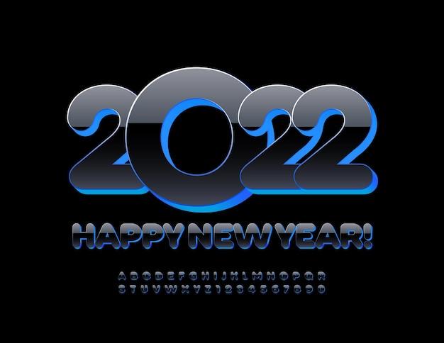 Wektor nowoczesny zestaw z życzeniami szczęśliwego nowego roku 2022 czarny i niebieski alfabet litery i cyfry