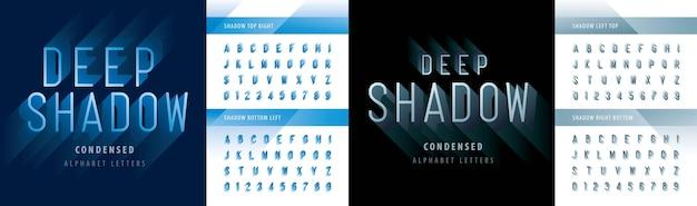Wektor nowoczesnych głębokich cieni skondensowanych liter alfabetu i cyfr, nowoczesna czcionka linii z cieniem