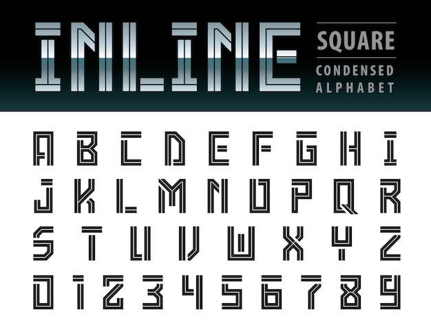 Wektor nowoczesnych kwadratowych liter alfabetu, geometryczna technologia czcionki, futurystyczna przyszłość