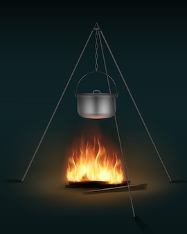 Wektor nowy błyszczący stalowy garnek kempingowy z pokrywką i uchwytem na widok z boku ogniska