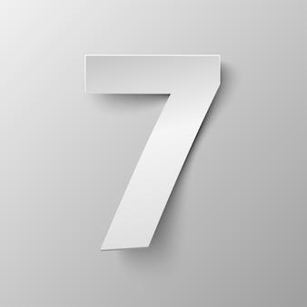 Wektor numer siedem. biała księga numer 7. ilustracja wektorowa w stylu papieru