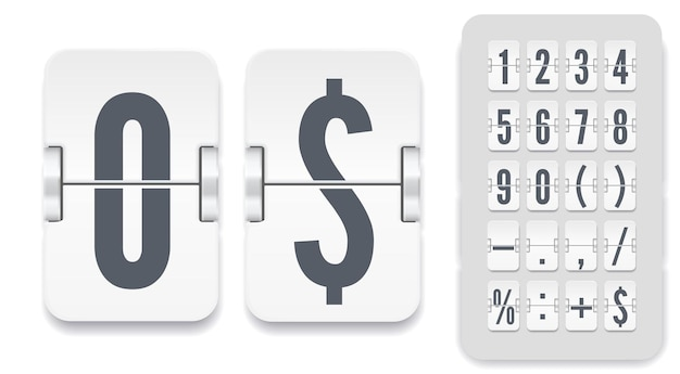 Wektor numeryczne szablon dla swojego projektu. zestaw tablicy wyników z klapką z cieniami, w tym cyframi i symbolami dla białego minutnika lub kalendarza na jasnym tle.