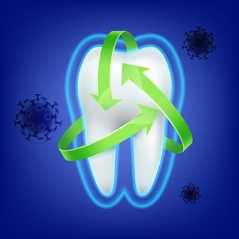 Wektor ochrony zielonej strzałki wokół zęba przed atakiem bakterii na niebieskim tle